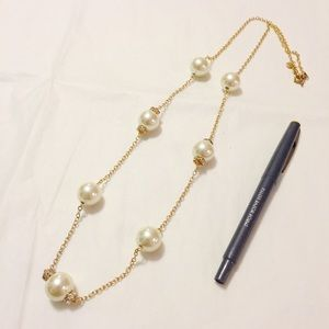 J.Crew Gold and Pearl Look Necklace